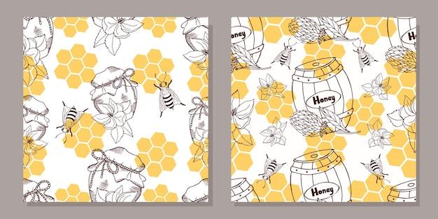 Um conjunto de padrões sem emenda com potes de mel e barris de mel.