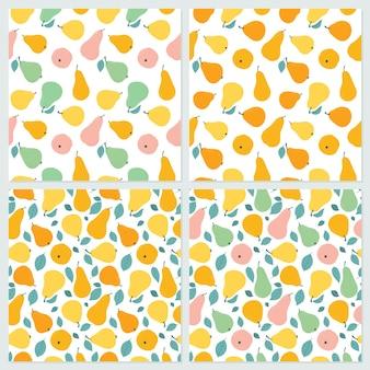 Um conjunto de padrões sem emenda em uma variedade de folhas e peras coloridas.