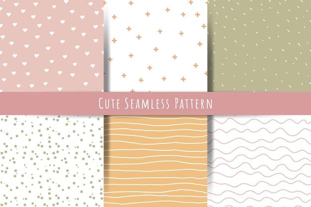 Um conjunto de padrões simples e minimalistas de verão primavera sem costura