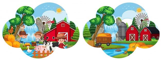Um conjunto de paisagem de fazenda