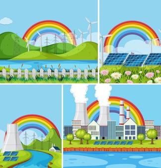 Um conjunto de paisagem natural power plant