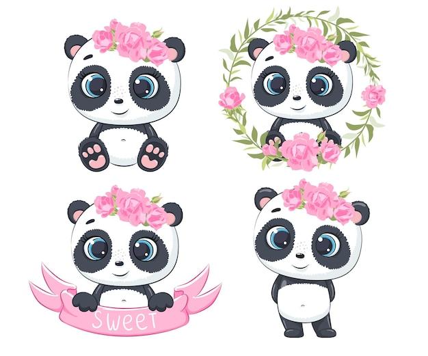 Um conjunto de pandas fofos e doces. ilustração em vetor de um desenho animado.
