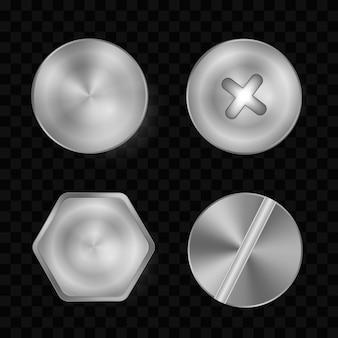 Um conjunto de parafusos e parafusos de metal brilhantes