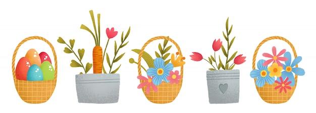 Um conjunto de páscoa colorido bonito, cesta, ovos, cenoura coelho
