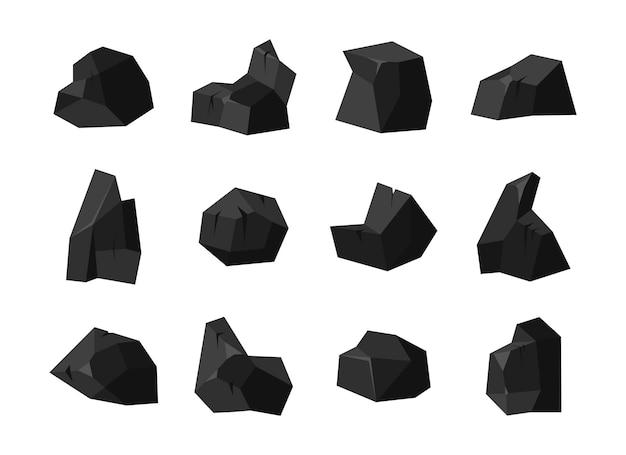 Um conjunto de pedaços de carvão de pedra fóssil negra de várias formas com iluminação diferente da superfície.