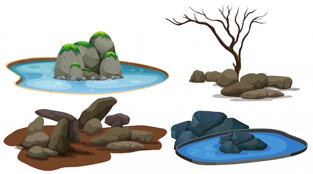 Um conjunto de pedra e lagoa