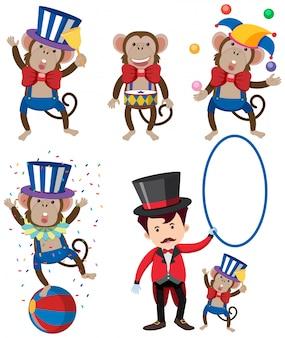 Um conjunto de personagem de circo de macaco