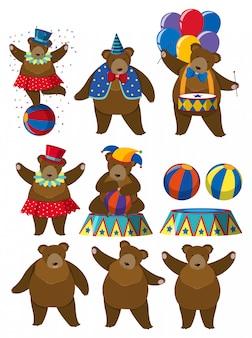 Um conjunto de personagem de circo de urso
