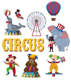 Um conjunto de personagem de circo