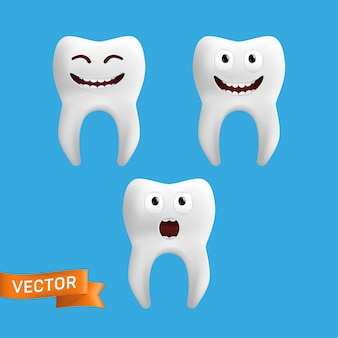 Um conjunto de personagens de dentes fofos com diferentes expressões faciais.