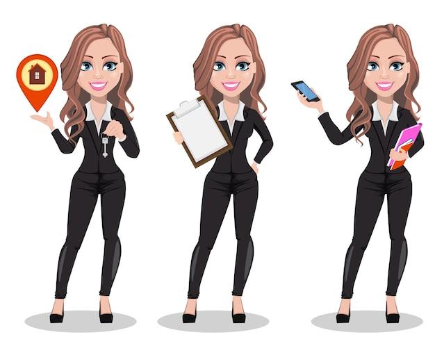 Um conjunto de personagens de desenhos animados de um agente imobiliário com três poses
