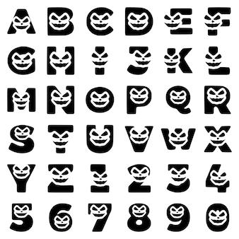 Um conjunto de personagens de halloween na forma de letras e números com uma cara maluca, vetor de clip-art.