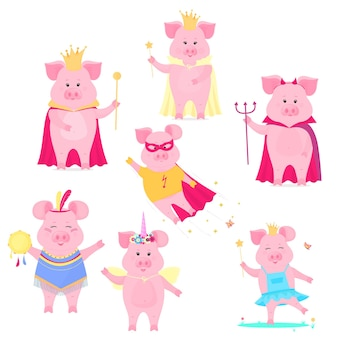 Um conjunto de personagens engraçados de porco. o rei e a rainha, unicórnio, super-herói, diabo no halloween. porquinho fofo. porco de vetor.
