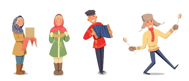Um conjunto de personagens para o feriado maslenitsa. ilustração vetorial em um fundo branco e isolado.