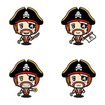 Um conjunto de personagens piratas mascote fofinho