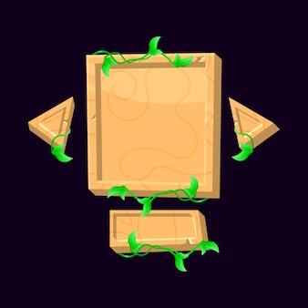Um conjunto de placa de interface do usuário de jogo de madeira engraçado aparece para elementos de recursos de interface