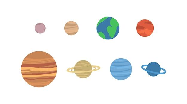 Um conjunto de planetas do sistema solar ou objetos espaciais observados em uma ilustração vetorial