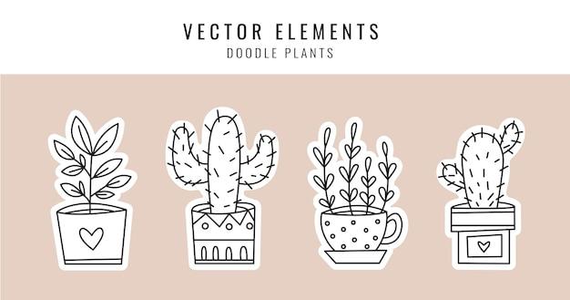 Um conjunto de plantas caseiras em vasos. quatro plantas diferentes em estilo doodle.