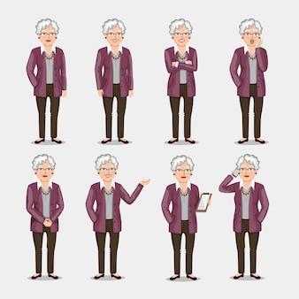 Um conjunto de poses e emoções. ilustração em um estilo simples. homem de negócios feminino