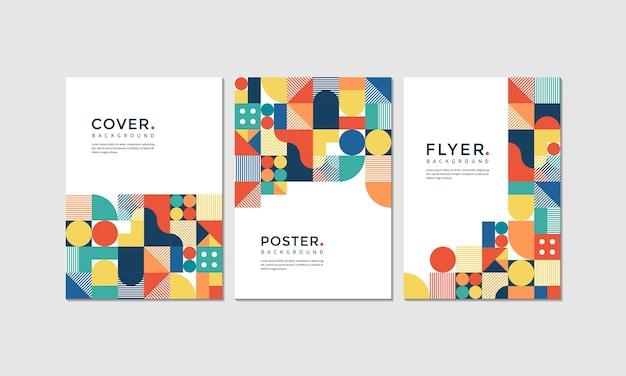 Um conjunto de pôster, capa e flyer com estilo geométrico colorido
