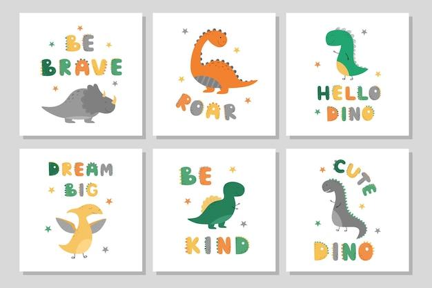 Um conjunto de pôsteres com dinossauros fofos
