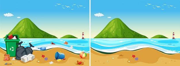 Um conjunto de praia suja e limpa