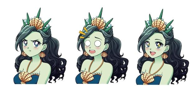 Um conjunto de princesa do mar anime bonito com diferentes expressões. cabelo verde, grandes olhos azuis, coroa de concha.