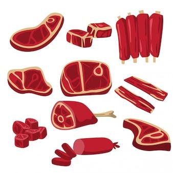 Um conjunto de produtos de carne de vaca