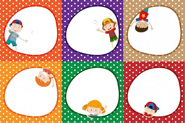 Um conjunto de quadro de crianças coloridas