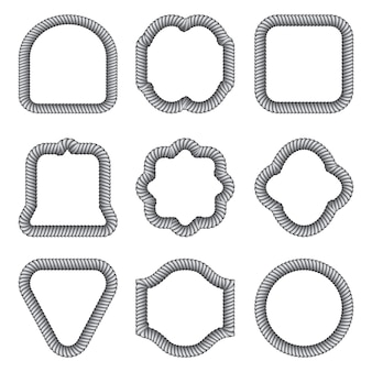 Um conjunto de quadros de diferentes formas da corda.