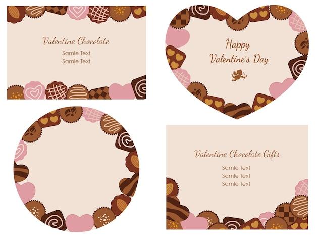 Um conjunto de quatro cartões do dia dos namorados com vários chocolates dispostos como quadros