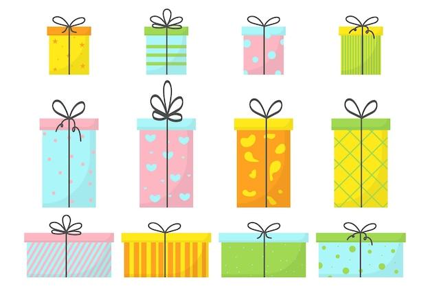 Um conjunto de quatro presentes com fitas e laços um conjunto de caixas para presentes um conjunto de presentes para o feriado