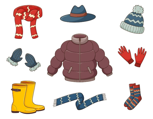 Um conjunto de rabiscos coloridos. agasalhos. roupas quentes de outono. elementos decorativos com traço e preenchimento