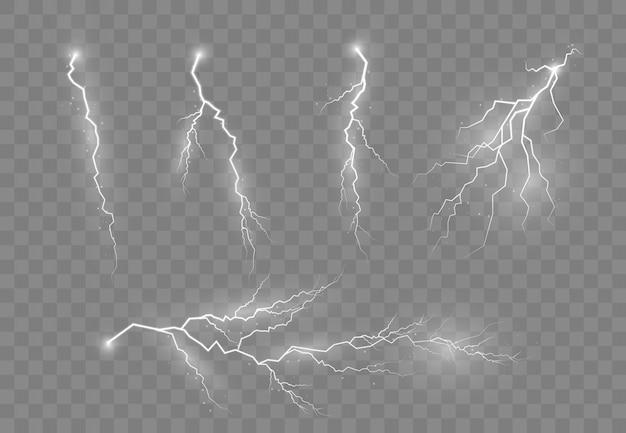 Um conjunto de raios e raios. efeitos de iluminação brilhante