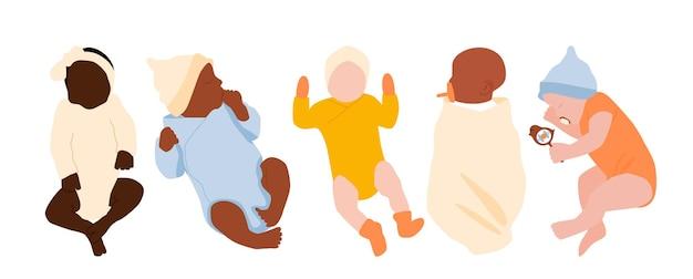 Um conjunto de recém-nascidos multiétnicos. uma coleção de bebês sem rosto.
