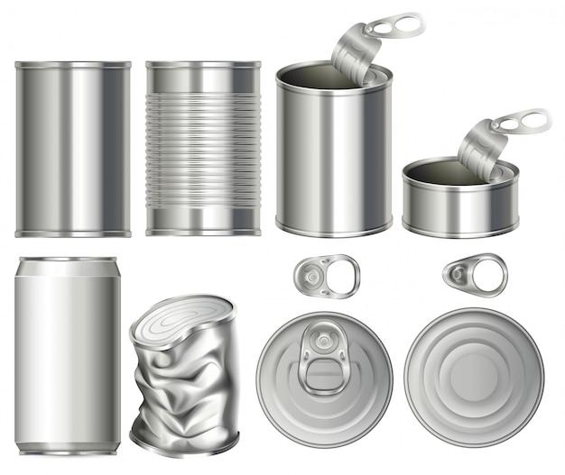 Um conjunto de recipiente de latas