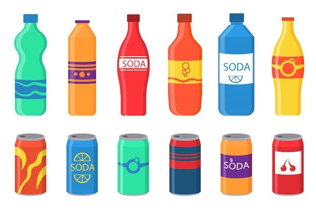 Um conjunto de refrigerantes em embalagens de plástico e alumínio.