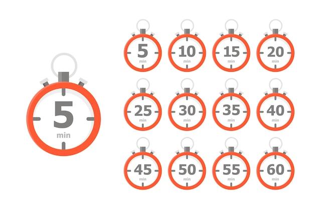 Um conjunto de relógios vermelhos, cada um mostrando um intervalo de tempo de 5 minutos