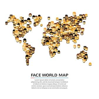 Um conjunto de rostos sorridentes em forma de mapa. ilustração vetorial