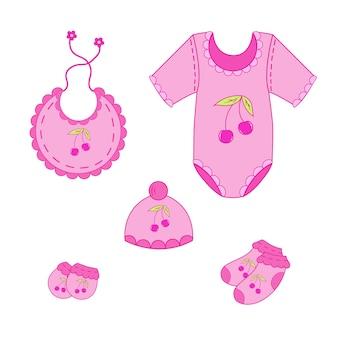 Um conjunto de roupas de bebê para menino no vetor eps 10