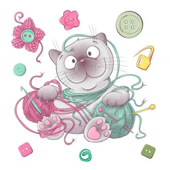Um conjunto de roupas de malha clew agulhas de tricô. desenho à mão