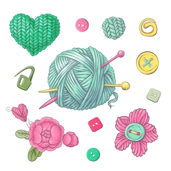 Um conjunto de roupas de malha clew agulhas de tricô.