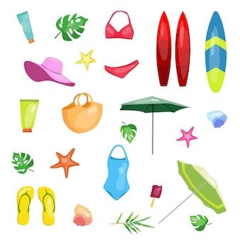 Um conjunto de roupas de praia de verão acessórios de banho, roupas e produtos de beleza vector
