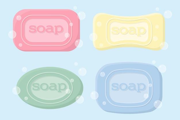Um conjunto de sabonetes sólidos de diferentes formas com bolhas. sabonete higiênico