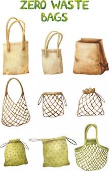 Um conjunto de sacolas reutilizáveis diárias ecológicas.