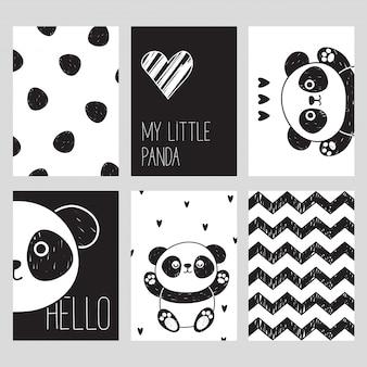 Um conjunto de seis cartões preto e branco com um panda bonito. meu pequeno panda. olá. estilo escandinavo.