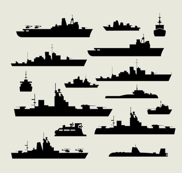 Um conjunto de silhuetas de navios de guerra para design e criatividade