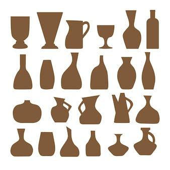 Um conjunto de silhuetas de vasos e potes de vários formatos