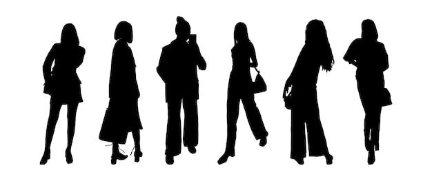 Um conjunto de silhuetas negras de meninas de modelos em roupas de negócios para impressão em camisetas, canecas, bolsas, decoração e design. ilustração vetorial.