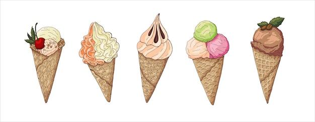 Um conjunto de sorvete em uma xícara cônica de waffle. chocolate, frutas vermelhas, sorvete cremoso. ilustração eps10 do vetor.